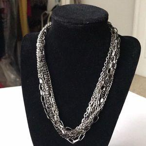 Jewelry - Dark silver/graphite 7 layer chain necklace